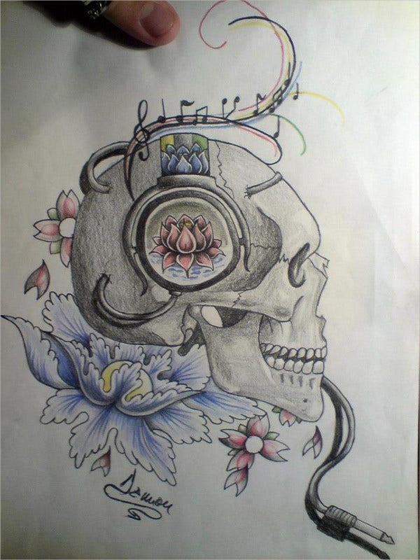 Skull Music Drawing