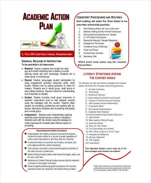 Student Action Plan Template   Free Word Pdf Format Download