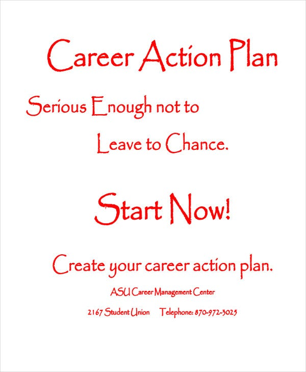 student career action plan template