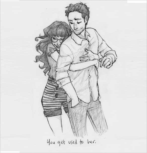 Whicdn com this is a fantastic pencil sketch where a young girl is embracing a boy from behind and a quote written you get used to her below the