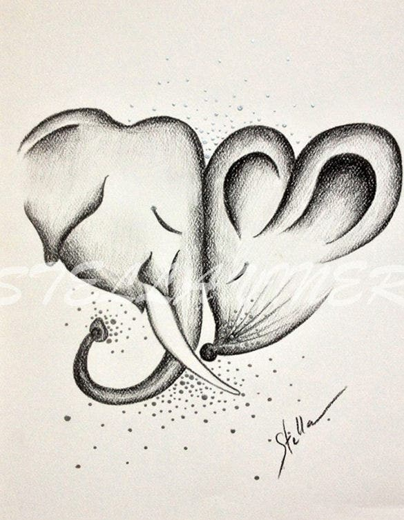 Cute elephants love drawings