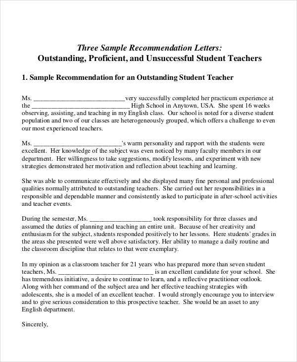 free sample letter of recommendation for teachers