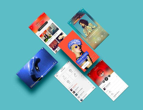 modern app screen design mockup