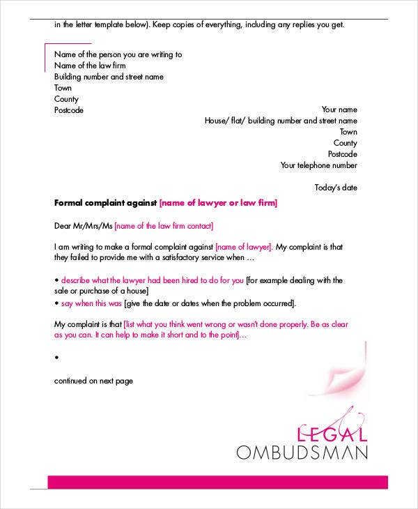 Sample letters 37 free sample example format free premium formal letter of complaint spiritdancerdesigns Choice Image
