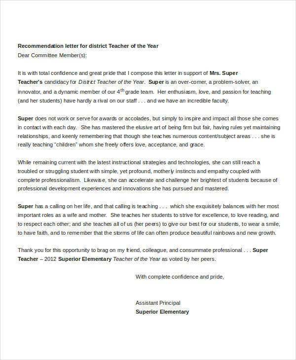 letters of recommendation for teacher of the year