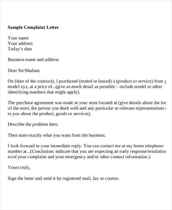 sample formal complaint letter