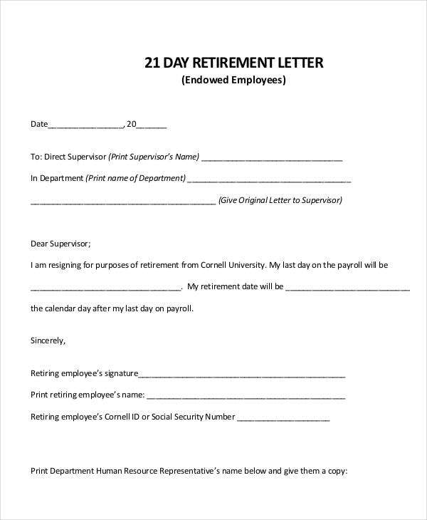 letter of retirement from employer