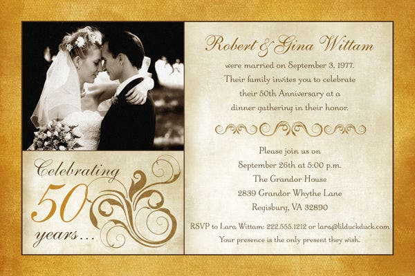 Cheap 50th Wedding Anniversary Invitations: Free & Premium Templates