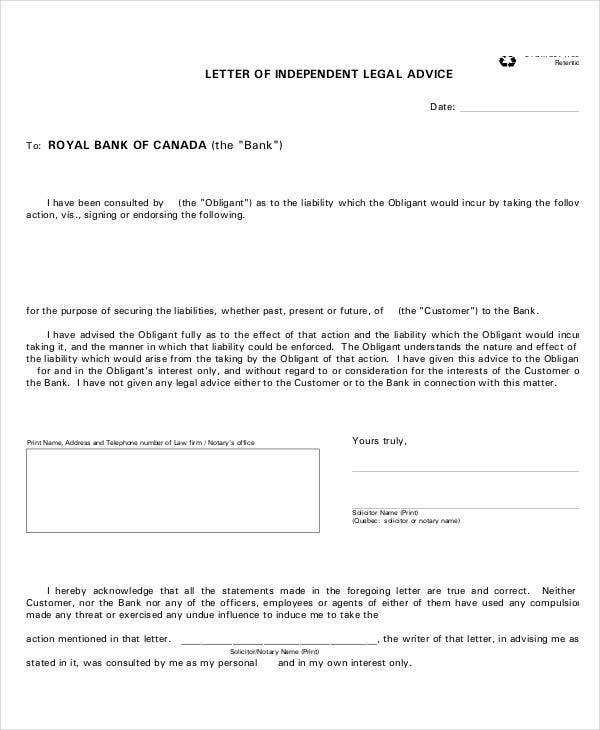 independent legal advice letter