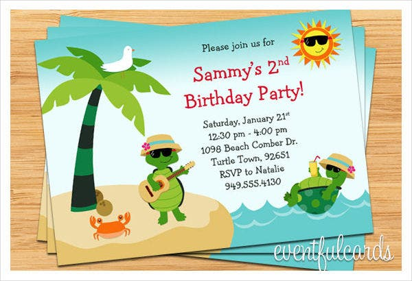 Birthday Beach Party Invitation