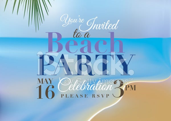 beach party invitation card template1