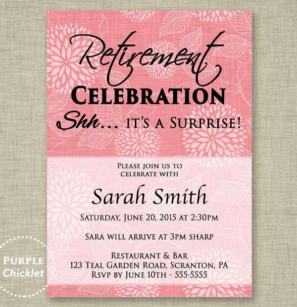 Party invitation templates free premium templates for Retirement invitation template free