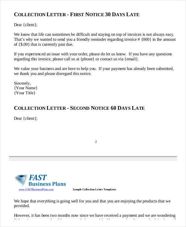 Collection Letter Samples   Free Word Pdf Documents Download