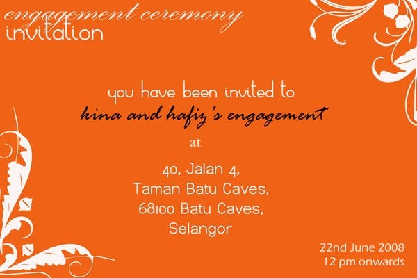 Invitation Format – Engagement Invitation Format