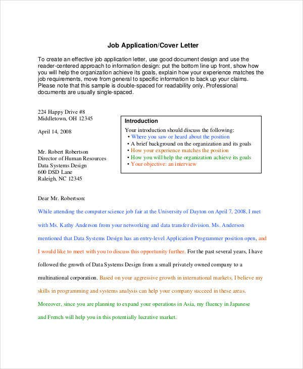 Job Application Letter Format  Job Application Cover Letter Format