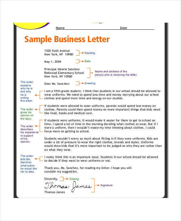 business letter format for student