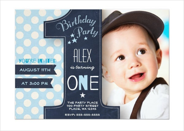 kids first birthday invitation
