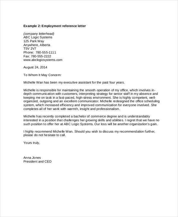 letter of recommendation samples for employment free letter templates 34 free word pdf documents 23058 | Free Reference Letter Template for Employment
