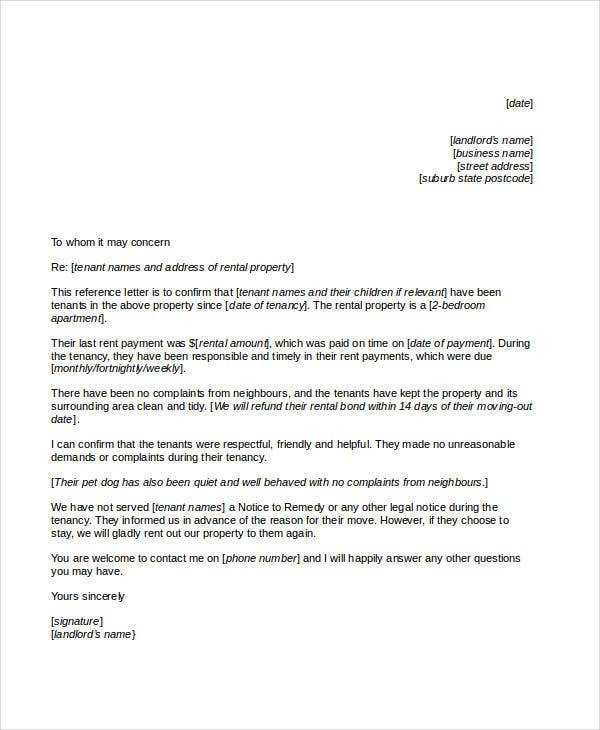 free reference letter template for tenant