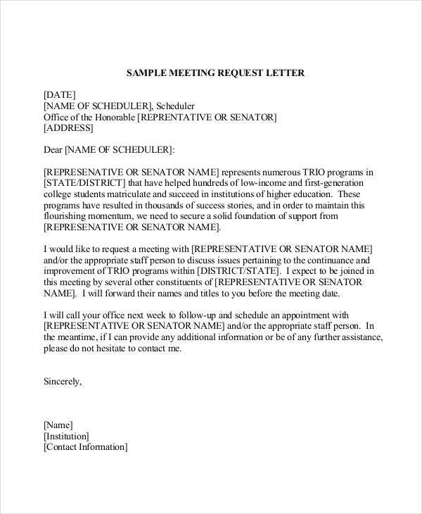 meeting request letter format