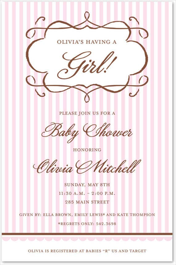 baby shower vintage invitation