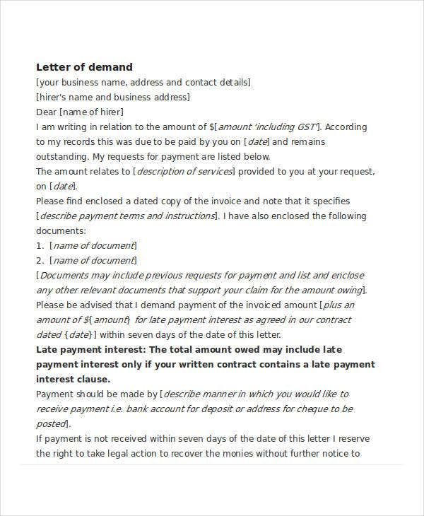 free legal letter of demand