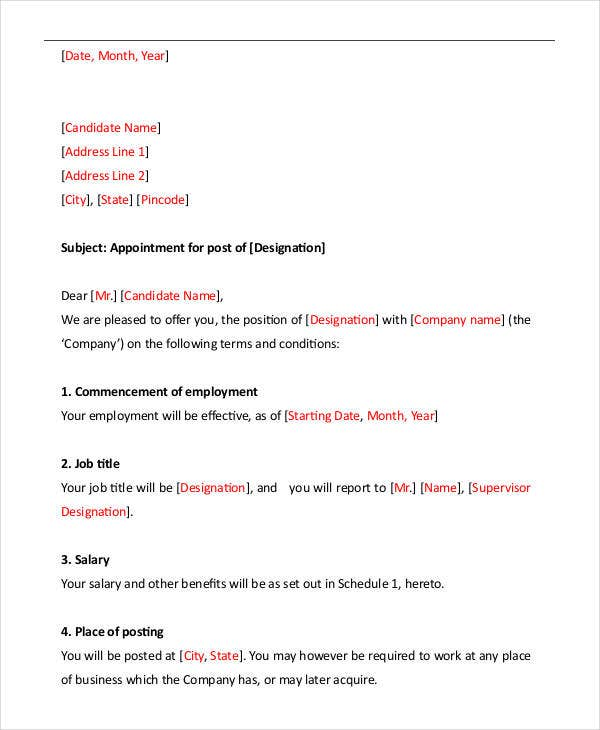 Letter format 39 free word pdf documents download free job appointment letter format spiritdancerdesigns Gallery