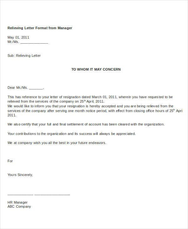 relieving letter format from manager