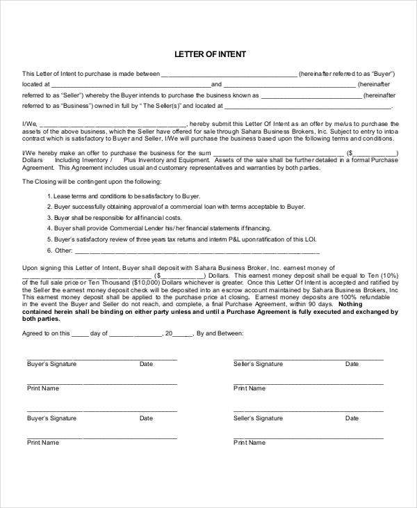 business letter of intent template