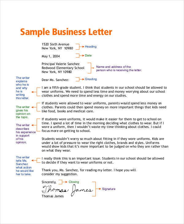 business letter for students