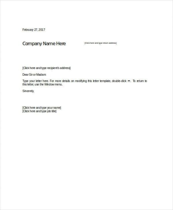 formal letter format