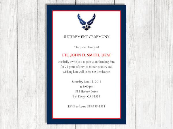 retirement ceremony invitation format