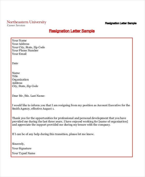 free formal resignation letter1