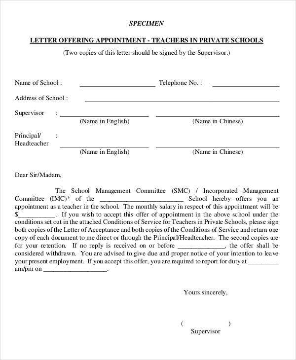 format of appointment letter for teacher