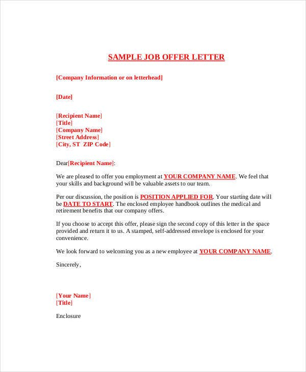 job employement offer letter