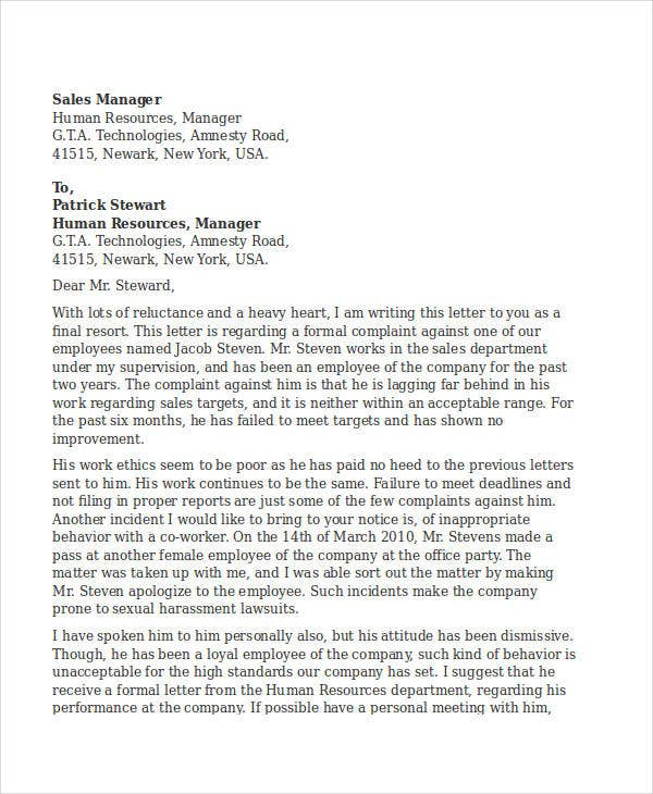 employee complaint letter template free