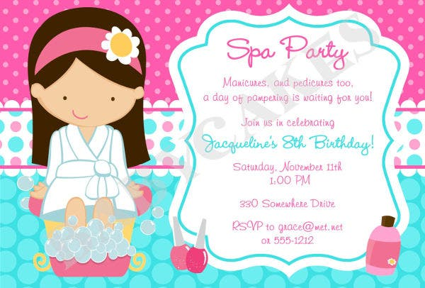 Spa Party Invitations  Free Sample Example Format Download