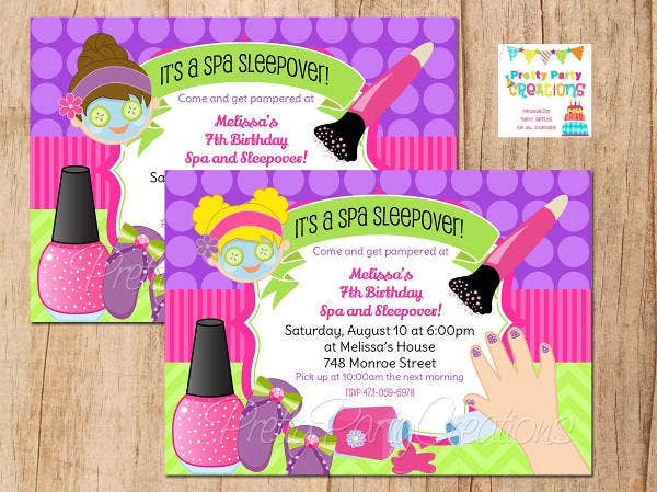 Sleepover Spa Party Invitation