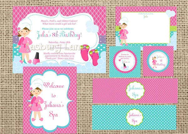 girl spa party invitation