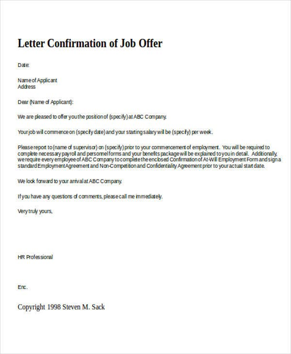 Confirmation Letter Template   Free Sample Example Format