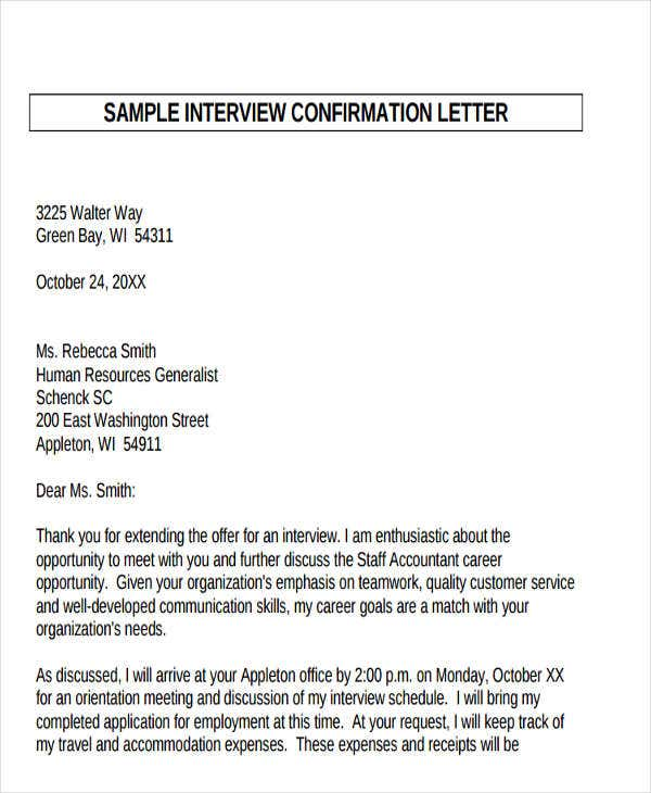 Confirmation letter template 15 free sample example format confirmation letter for interview template spiritdancerdesigns Images