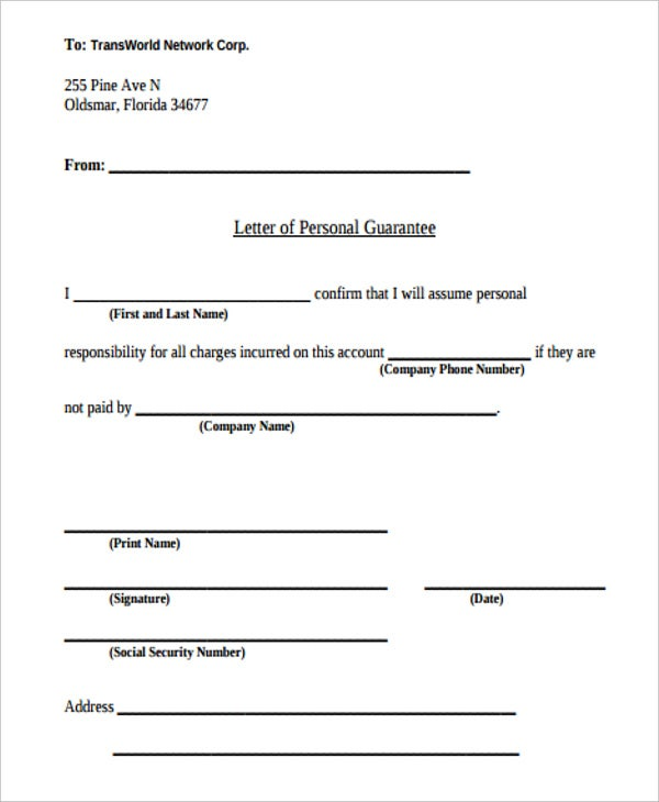 9+ Guarantee Letter Templates - Free Word, Pdf Format Download