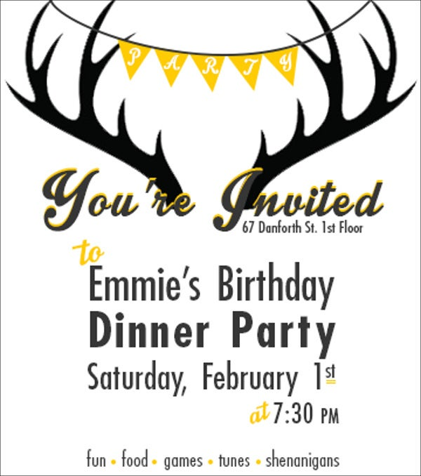 birthday party dinner invitation