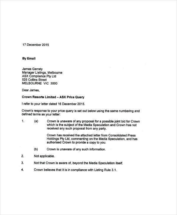 Query letter templates 5 free sample example format download query response letter template altavistaventures Image collections