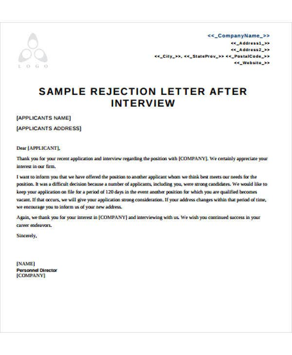 Application rejection letter after interview – Sample Applicant Rejection Letter