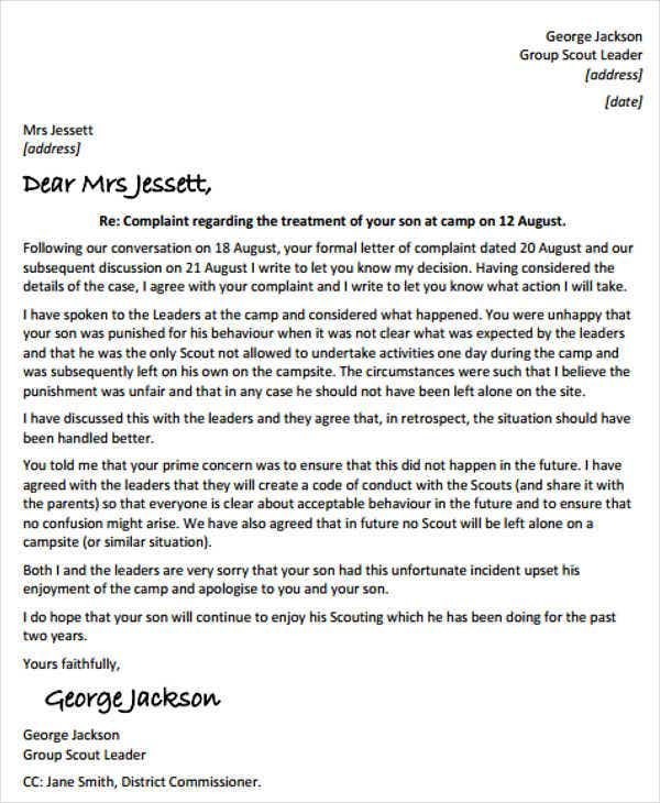 18 Response Letter Template Free Sample Example Format Download