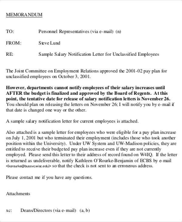 Salary Letter Templates   Free Sample Example Format Download