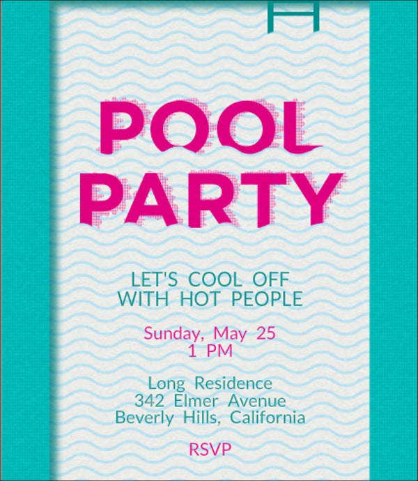 potluck pool party invitation