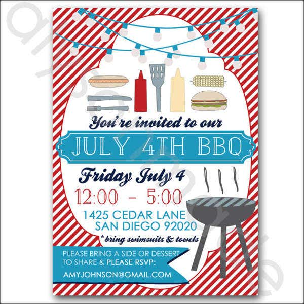Potluck BBQ Party Invitation