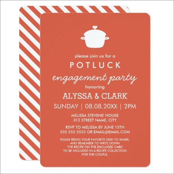 6 potluck party invitations free sample example format potluck engagement party invitation stopboris Choice Image